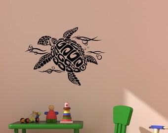 Sea Turtle wall decal, ocean, sea, girls bedroom decor, playroom, teen girl, baby nursery wall sticker, dorm room, vinyl, 20 X 28 inches