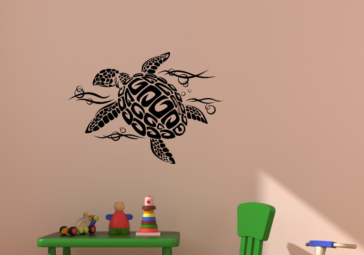 sea turtle wall decal ocean sea girls bedroom decor. Black Bedroom Furniture Sets. Home Design Ideas