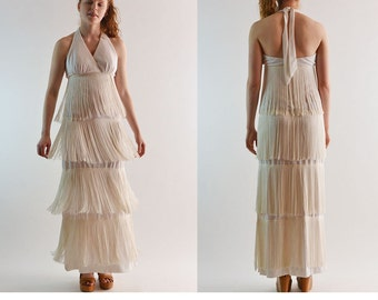 Vintage 60s Dress BACKLESS Dress Bohemian Halter Dress Long Maxi Dress / Fringed Flapper Maxi Dress White Party Dress Boho Maxi Dress S / M