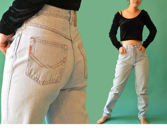 Vintage 80s Jeans / High Waisted Jeans GITANO Distressed Faded Denim Blue Jeans / 1980s Mom Jeans / Taper High Waist Jeans 27 Waist
