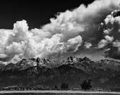 Storm Mountain Range Stormy Black and White Rugged Rustic Cabin Lodge Photograph