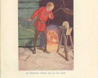 Vintage Print, 1923, Peter Pan, Fairy Tinkerbell, Art Nouveau Children's Book Illustration 58/1, Nursery Decor, Peter Pan Picture, Woodward