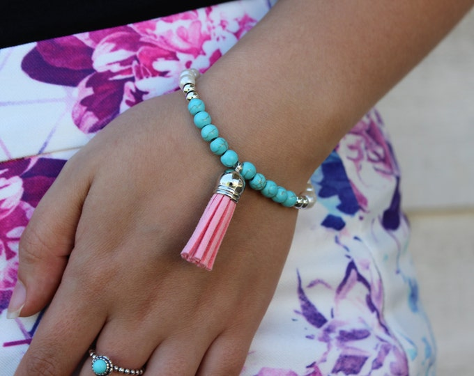 Baby Pink, Pearl and Turquoise Tassel Bracelet.