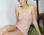 lingerie set in organic cotton with panties and chemise - ready to ship - sale - size medium - color pink