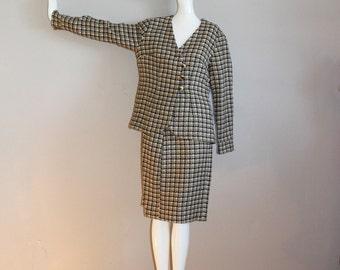 Tan Black Cream Check Plaid Wool 2 PC Sixties Suit