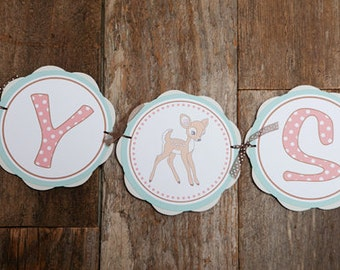 BABY SHOWER Banner - Woodland Baby Shower Banner - Baby Girl Shower Decorations - Woodland Shower - Woodland Animals Baby Shower - Fawn