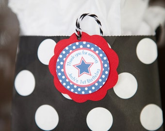 Patriotic FAVOR TAGS, 4th of July Birthday Party Decorations, Star Party, Patriotic Birthday, 4th of July Tags - Gift Tags with Stars (12)