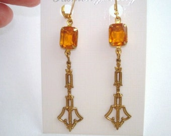Topaz Glass Gold Tone Dangle Earrings