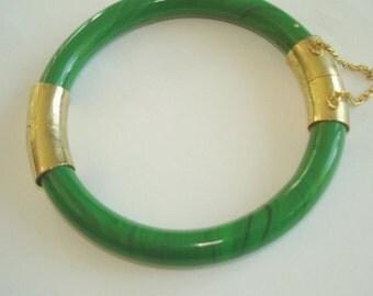 GF Jade Color Green Stones Bracelet