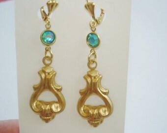 Earrings Gold tone Turquoise Dangle