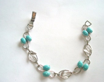 Signed Van dell GF Sterling Turquoise Bracelet