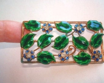 Flower Garden Rhinestone Brooch Green Gold Tone