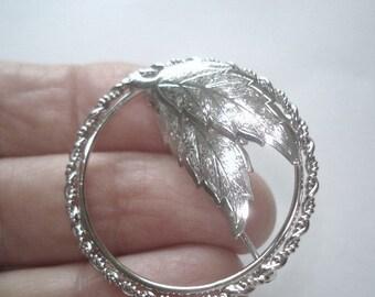 Signed INC Leaf Sterling Vintage Jewelry Brooch