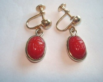 Red Scarab  Screw Back  Clip Vintage Jewelry Dangle  Earrings Gold Tone