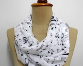 SALE Music Scarf Music Print Scarf, Musical Note Wrap, Music Sheet Scarf, Cat Pattern Scarf Chiffon scarf gift  shawl