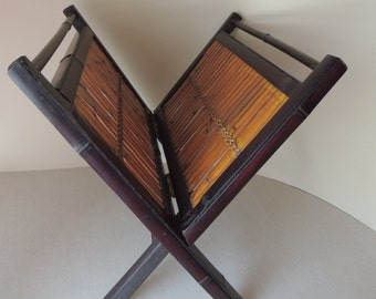 Natural Bamboo Hinged  Folding Black Magazine Rack. Rattan Painted Black Wood Folding Display
