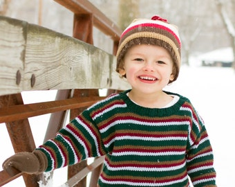Children Clothing -- Hand Knit Baby Sweater, Boys -- RITTENHOUSE STREET -- Brown, Green, Blue, and Red -- Perfect for Baby Showers
