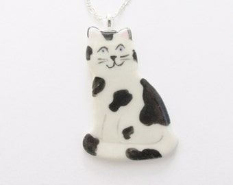 Spotted Kitty Cat Stoneware Necklace, Cat Pendant, Kitten Pendant, Ceramic Cat Pendant, Pottery Cat Necklace