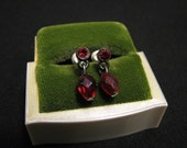 Vintage Antiqued Silver Tone and Red Ruby Diamond Rhinestone Crystal Beaded Pierced Earrings