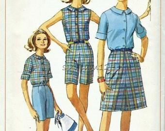 Vintage 1960s Pattern Wardrobe Button Front Collared Shirt Bermuda Shorts and A Line Skirt 1966 Simplicity 6504 Bust 33