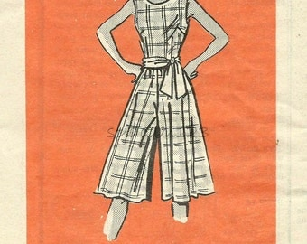 Vintage 1970s Pattern Scoop Neck Cullotes Jumper Sleeveless Mail Order 9129 Bust 31.5 UNCUT