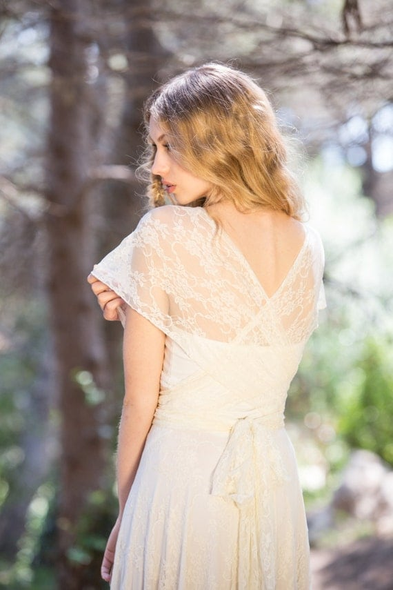 Romantic boho lace wedding dress backless bridal gowns for Backless boho wedding dress