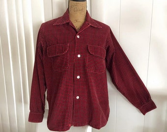Sale Vintage 1950's Men's Long Sleeve Button Loop Shirt -- Buffalo Plaid -- Size S