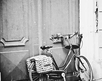 Paris Photography, black and white art prints, Bicycle wall decor - Streets of Paris - nursery art, Paris decor, vintage bicycle, wall art
