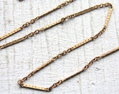9 Feet Vintage 1960s Patinated Gold Color Brass Chain / Thin Woven Bar with Links