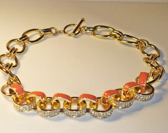 Vintage Orange Enameled Rhinestone Chain Link Necklace (N-2-4)