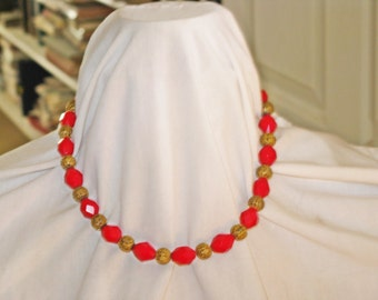 Vintage Red Glass and Brass Bead Necklace (N-1-2)