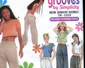 Simplicity 9061 Junior Cargo Pants and Crop Top pattern w embroidery - UNCUT - Grooves by simplicity