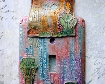 SALE! Pastel Egypt, light switch cover, metal switch plate with polymer clay, stamped with Egyptian motifs, blue, pink, green and gold