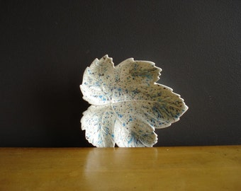Blue and White Leaf Dish or Bowl - Vintage Pottery - Cream and Blue and Purple