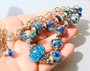 Art Glass Necklace, Blue Lampwork Statement Necklace, Aqua Blue Lampwork Glass, Silver Necklace, Bali Silver, LUXURY, Lovely Luxe Jewelry