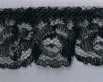 "Delicate Black Roses Polyester Blend Lace 1 1/4"" wide - (5 yards @ 60 cents a yard)"