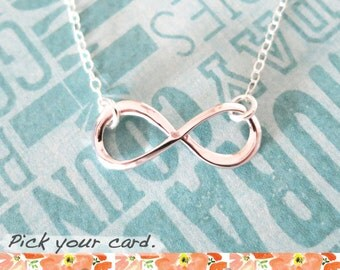 Infinity necklace - simple dainty silver Infinity, forever love, best friend, friendship, bridesmaid, daughter, mother