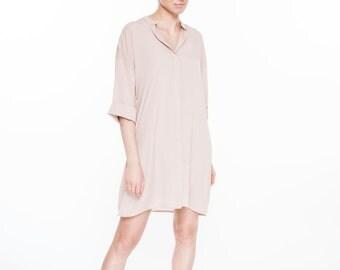 Shirt dress   Nude shirt dress   Silk shirt dress   LeMuse shirt dress