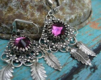 Amethyst Crystal Earrings - E436