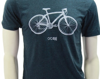 Bicycle| Soft Lightweight T shirt| Infinite MPG| art by MATLEY| Bike| Sport| Gift for him| Cyclist| Crew and Vneck| Father's day gift.
