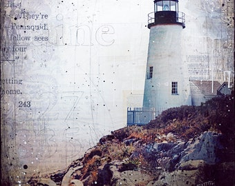 Ghosts of the Coast - paper print of Pemaquid Point Maine lighthouse mixed media collage