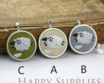 Last - 2/3pcs High Quality Embroidery Sheep Charm / Pendant (DY13)--Clearance Sale