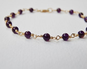 Dark Amethyst Beaded Bracelet - Gold Filled Beadwork Bracelet Rosary Bracelet Bead Bracelet February Birthstone