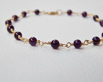 Dark Amethyst Beaded Bracelet - Gold Filled Beadwork Bracelet Rosary Bracelet Bead Bracelet February Birthstone