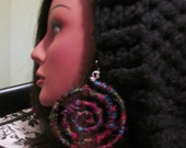 Banana Silk Fiber Yarn Spiral earrings
