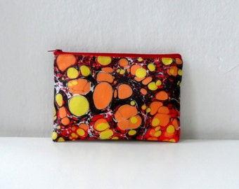 Popart ZipPouch, Orange Yellow Zipper Bag, Hand Marbled  Geometric Dots -Model 3,  cosmetic bag / travel bag / make up bag