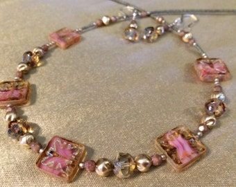 Czech Glass Bead Necklace and Earring Set in Gorgeous Shades of Pinks and Light Bronzes