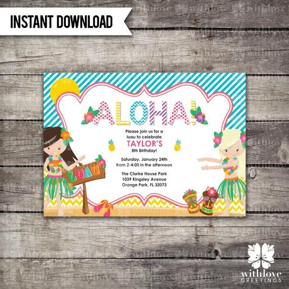 Instant download luau invitation for Instant download invitations