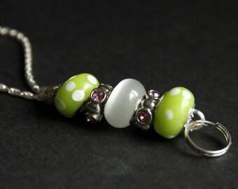 Badge Lanyard. Lime Green Id Lanyard. Green White and Pink Badge Necklace. Beaded Badge Holder. Lampwork Glass Lanyard. Handmade Badge Leash