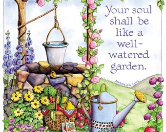 Well-Watered Garden Digital Art Print 6x6 Christian Printable Ready to Frame Cardmaking Crafts INSTANT DOWNLOAD